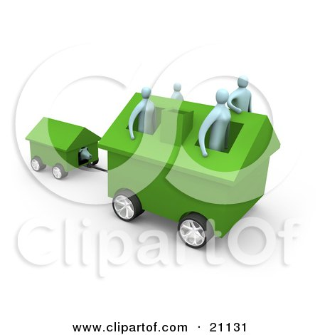Clipart Illustration of a Family Of Four Inside Their Green Home On Wheels, Moving To A New Location, Pulling The Dog House Behind by 3poD