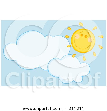 Royalty-Free (RF) Clipart Illustration of a Cloud Below Under A Happy Sun by Hit Toon