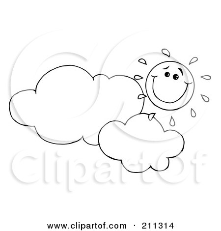 Royalty-Free (RF) Clipart Illustration of an Outlined Cloud Floating Under A Happy Sun by Hit Toon