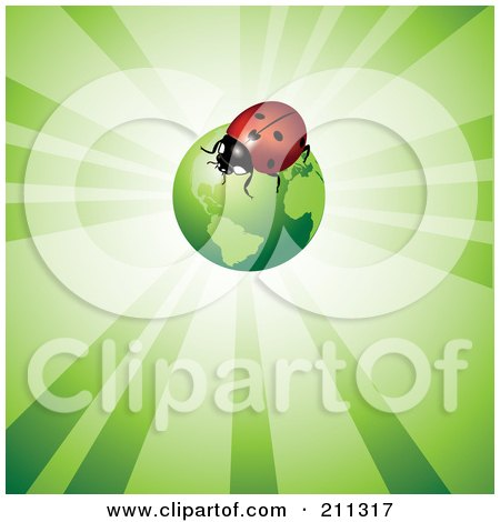 Royalty-Free (RF) Clipart Illustration of a Ladybug On A Green Globe Over A Shining Background by Eugene