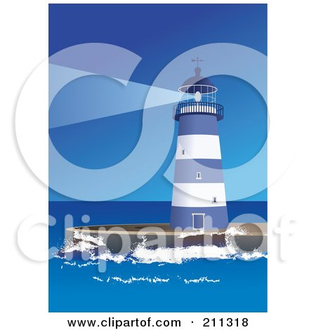 Royalty-Free (RF) Clipart Illustration of a Blue And White Lighthouse Shining A Beacon Out At Sea by Eugene