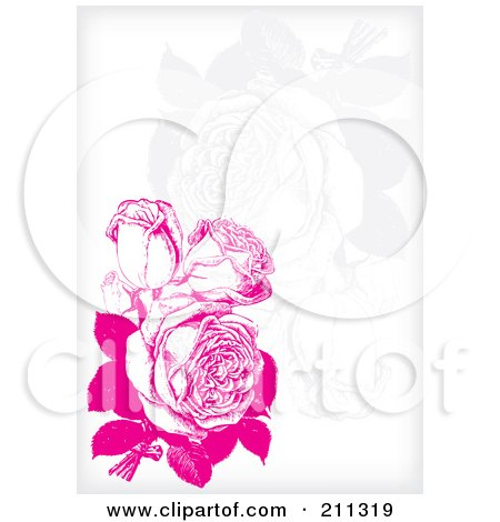 Royalty-Free (RF) Clipart Illustration of a Pink Rose Background With Faint Flowers On White by Eugene