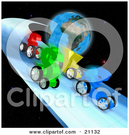 Clipart Illustration of Euro, Dollar, Yen And Pound Currency Racing Cars Racing On A Track In Space Around Planet Earth by 3poD