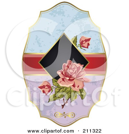 Royalty-Free (RF) Clipart Illustration of a Floral Rose Label by Eugene