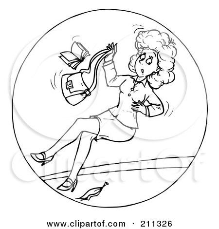 Royalty Free RF Clipart Illustration Of A Coloring Page Outline Woman Slipping On Banana Peel By Alex Bannykh