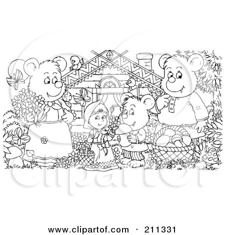 Coloring Page Outline Of A Bear Family And Goldilocks By Cabin Alex Bannykh