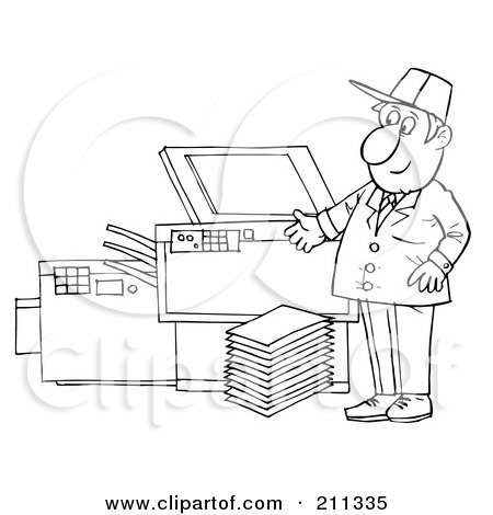 Royalty-Free (RF) Clipart Illustration of a Coloring Page Outline Of A Man Repairing A Copy Machine by Alex Bannykh