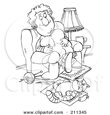 Royalty-Free (RF) Clipart Illustration of a Coloring Page Outline Of A Chubby Woman And Her Fat Cat Being Lazy by Alex Bannykh