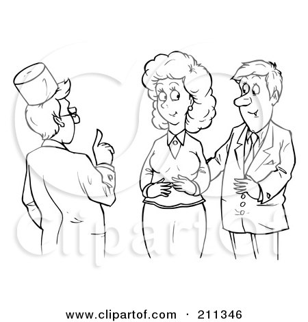 Royalty-Free (RF) Clipart Illustration of a Coloring Page Outline Of A Male Doctor Assisting A Couple by Alex Bannykh