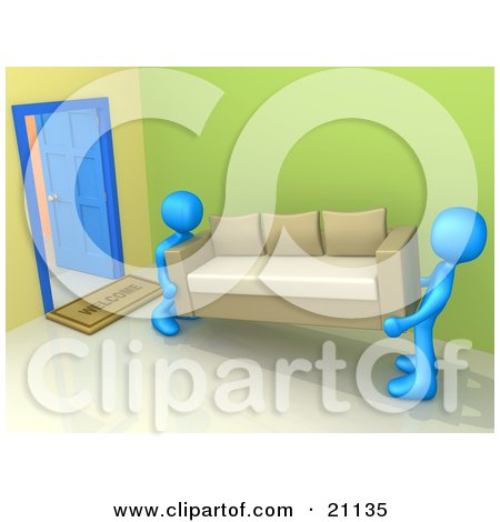 Clipart Illustration of Two Blue Moving Men Carrying A Couch In Or Out Of A Doorway, Symbolizing Delivery Or Reposession by 3poD