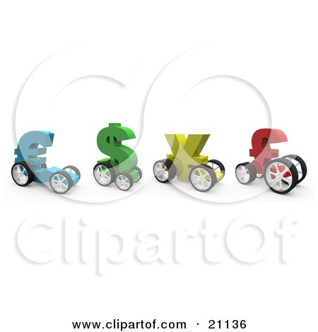 Clipart Illustration of Colorful Currency Racing Cars In The Shape Of The Euro, Dollar, Yen And Pound, Ready For A Race by 3poD