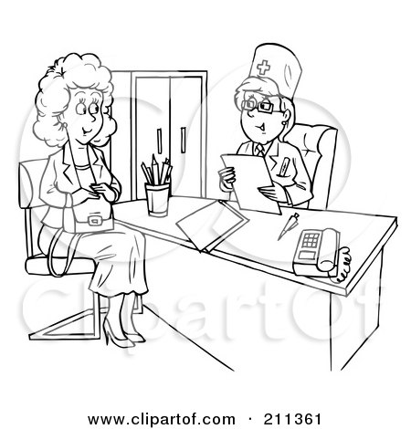 Coloring Page Outline Of A Woman Talking To Doctor In An Office