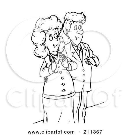 Clipart Illustration of a Romantic Man Giving His Wife A ...