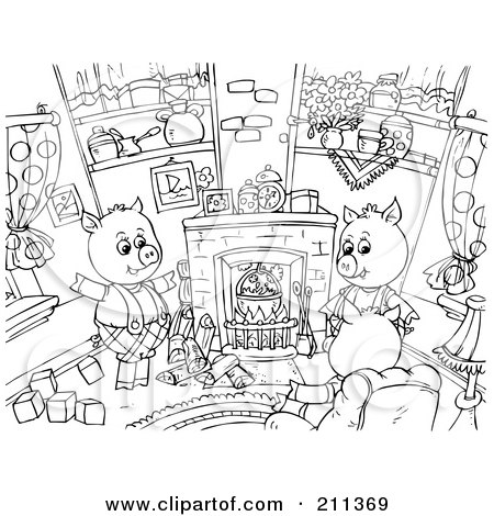 Royalty-Free (RF) Clipart Illustration of a Coloring Page Outline Of Three Pigs Sitting Around A Fireplace by Alex Bannykh