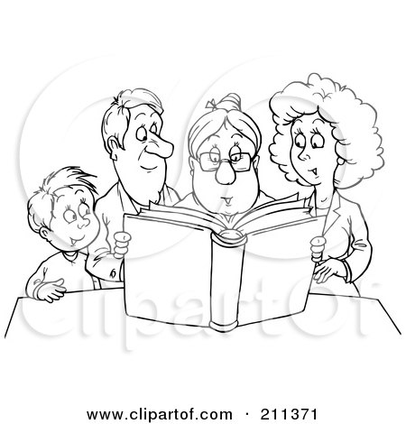 Royalty-Free (RF) Clipart Illustration of a Coloring Page Outline Of A Granny Reading A Story To A Family by Alex Bannykh