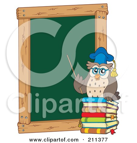 Royalty-Free (RF) Clipart Illustration of an Owl Teacher With Books By A Chalk Board by visekart