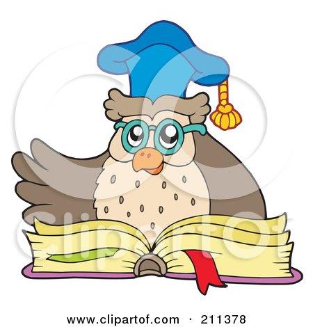 Owl Teacher Over An Open Book Posters, Art Prints