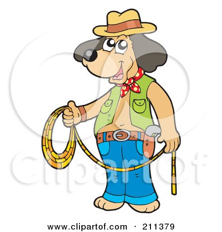 Royalty-Free (RF) Clipart Illustration of a Cowboy Dog Standing And Holding A Lasso by visekart