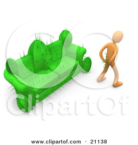 Clipart Illustration of an Orange Man In Pain, Trying To Pull Needles Out Of His Butt After Sitting On A Cactus Couch by 3poD