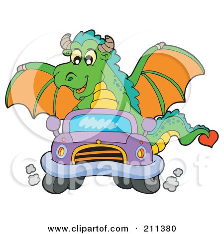 Royalty-Free (RF) Clipart Illustration of a Green Dragon Driving A Little Purple Car by visekart
