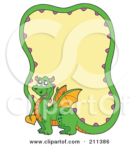 Royalty-Free (RF) Clipart Illustration of a Cute Green Dragon With A Long Tail Forming A Frame Around Yellow by visekart