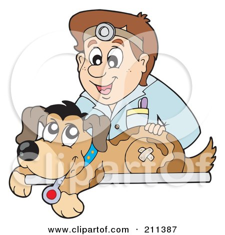 Royalty-Free (RF) Clipart Illustration of a Friendly Male Veterinarian Bandaging Up A Hurt Dog by visekart