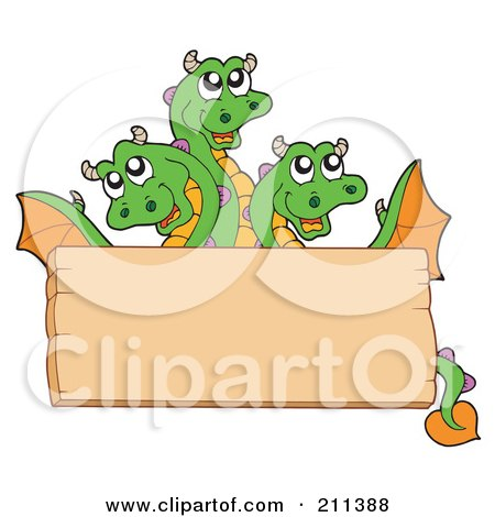 Royalty-Free (RF) Clipart Illustration of a Three Headed Dragon Behind A Blank Wood Sign Board by visekart