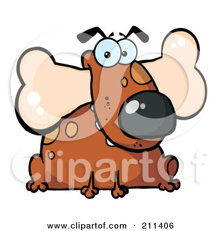 Royalty-Free (RF) Clipart Illustration of a Fat Brown Dog Sitting With A Bone In His Mouth by Hit Toon