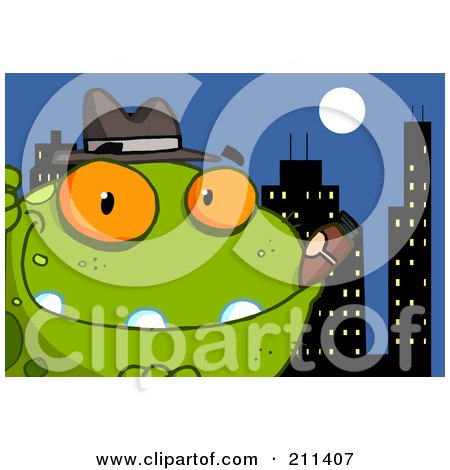 Royalty-Free (RF) Clipart Illustration of a Mobster Frog With A Cigar In The City by Hit Toon