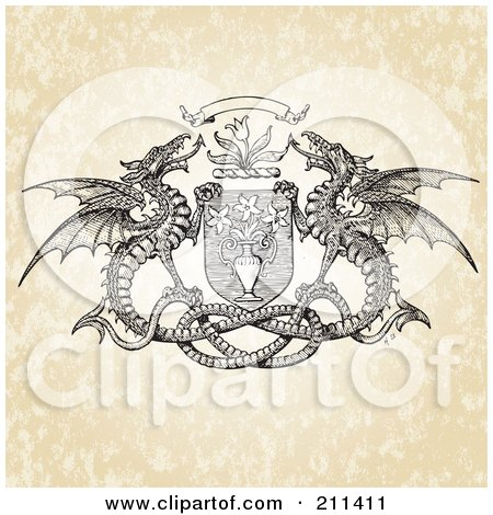 Royalty-Free (RF) Clipart Illustration of a Double Dragon And Floral Crest Design by BestVector