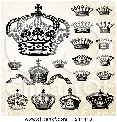 Royalty-Free (RF) Clipart Illustration of a Digital Collage Of Victorian Crowns by BestVector