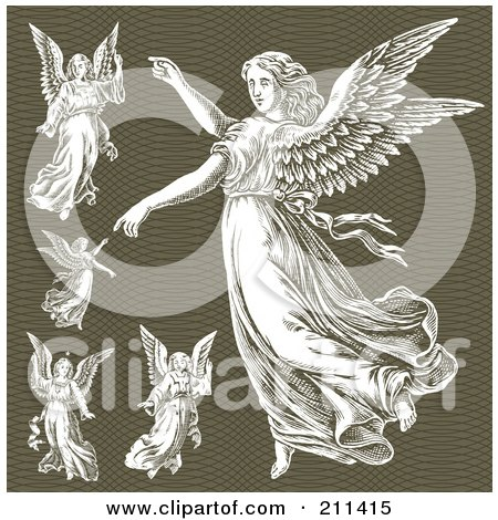 Royalty-Free (RF) Clipart Illustration of a Digital Collage Of Elegant Angels by BestVector