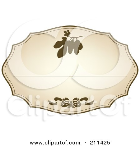 Royalty-Free (RF) Clipart Illustration of an Aged Label With Brown Floral Designs And Text Space - 9 by Eugene