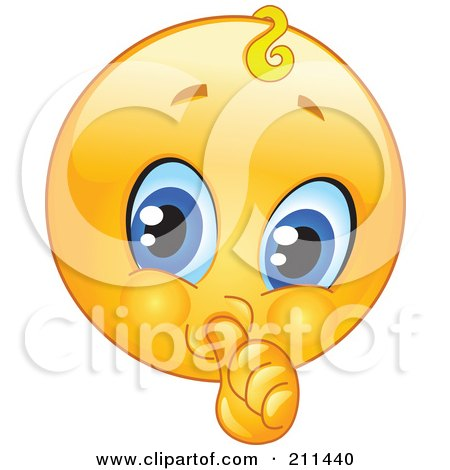 Royalty-Free (RF) Clipart Illustration of a Yellow Smiley Face Baby Emoticon Sucking Its Thumb by yayayoyo