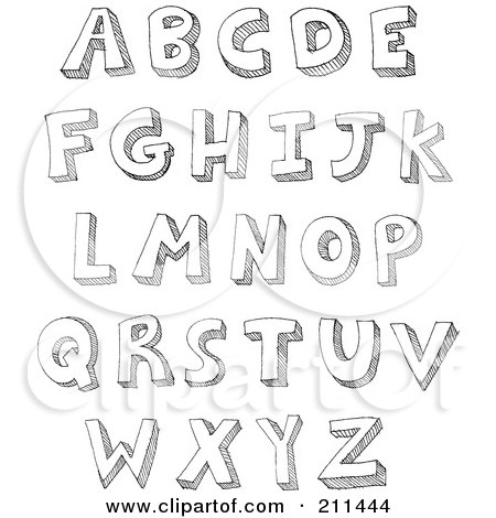 Royalty-Free (RF) Clipart Illustration of a Digital Collage Of Capital Sketched Letters by yayayoyo