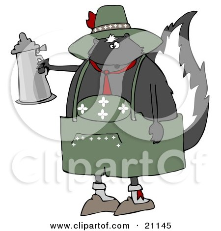 Clipart Illustration of a Drunken Oktoberfest Skunk In A Green Costume, Holding A Silver Beer Stein by djart
