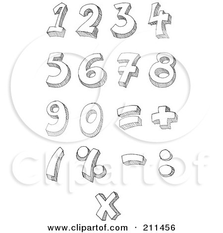 Royalty-Free (RF) Clipart Illustration of a Digital Collage Of Sketched Math Symbols And Numbers by yayayoyo