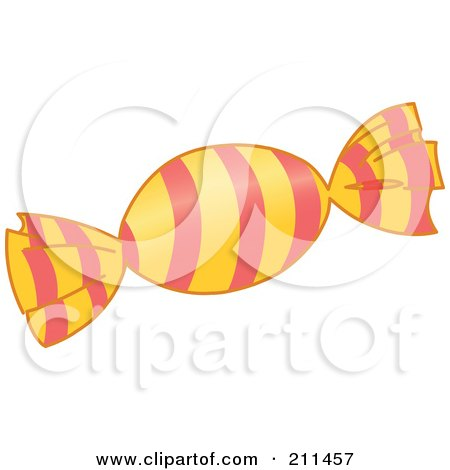 Royalty-Free (RF) Clipart Illustration of a Piece Of Hard Candy In A Striped Wrapper by yayayoyo