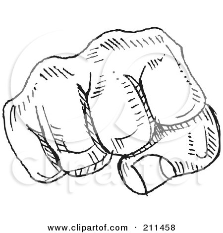 Royalty-Free (RF) Clipart Illustration of a Black And White Fist Doodle Sketch by yayayoyo