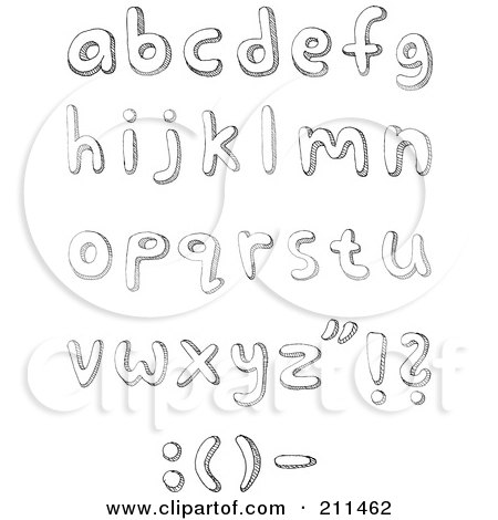 Royalty-Free (RF) Clipart Illustration of a Digital Collage Of Lowercase Sketched Letters by yayayoyo