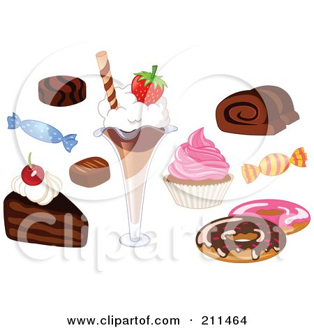 Royalty-Free (RF) Clipart Illustration of a Digital Collage Of Candies And Desserts by yayayoyo