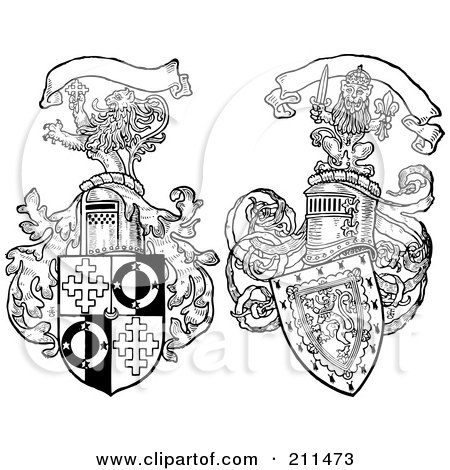 Royalty-Free (RF) Clipart Illustration of a Digital Collage Of Two Lion And Shield Crests by BestVector