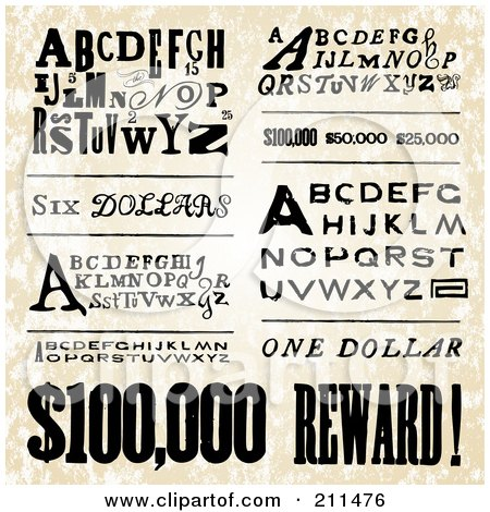 Royalty-Free (RF) Clipart Illustration of a Digital Collage Of Old Fashioned Poster Fonts by BestVector