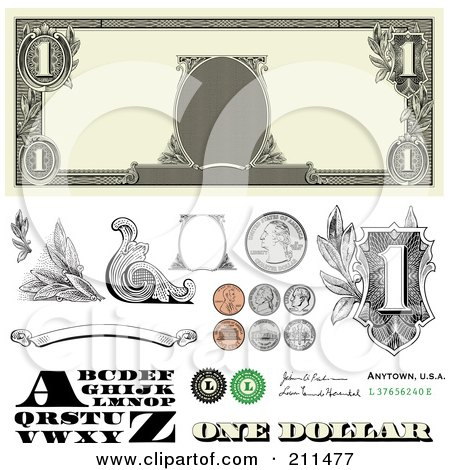 Royalty-Free (RF) Clipart Illustration of a Digital Collage Of Cash And Coin Design Elements by BestVector