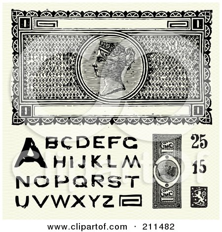 Royalty-Free (RF) Clipart Illustration of a Digital Collage Of Old Fashioned Currency And Letters by BestVector