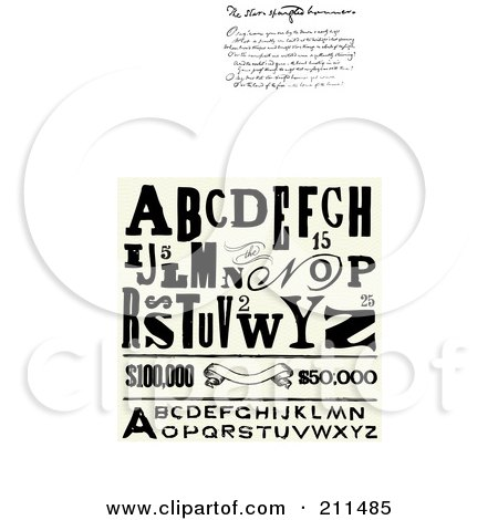 Royalty-Free (RF) Clipart Illustration of a Digital Collage Of Distressed Letters by BestVector