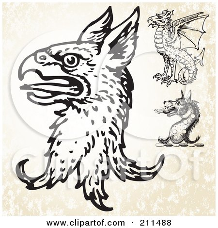 Royalty-Free (RF) Clipart Illustration of a Digital Collage Of Beast Heads by BestVector
