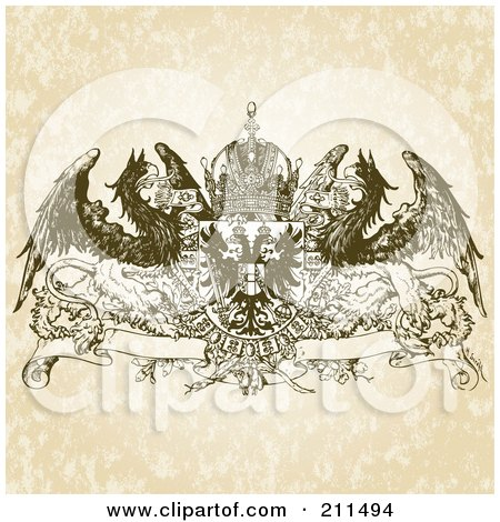 Royalty-Free (RF) Clipart Illustration of a Griffin And Crown Banner Design Ornament by BestVector