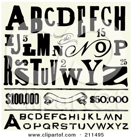 Royalty-Free (RF) Clipart Illustration of a Digital Collage Of Distressed Letters, Reward Prices And Banners by BestVector