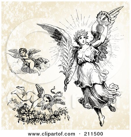 Royalty-Free (RF) Clipart Illustration of a Digital Collage Of Three Victorian Angels by BestVector